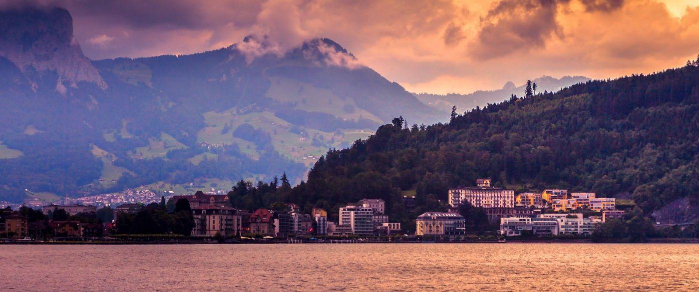 瑞士卢塞恩(Lucerne),湖边晚霞_图1-32