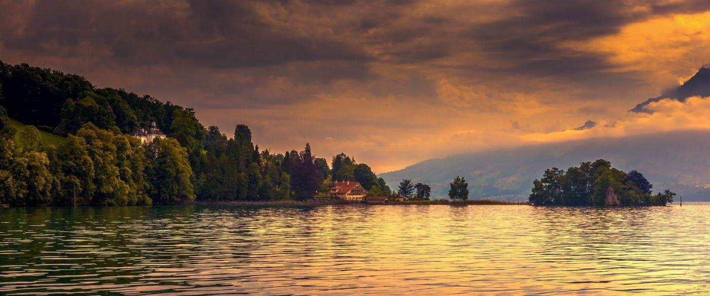瑞士卢塞恩(Lucerne),湖边晚霞_图1-35