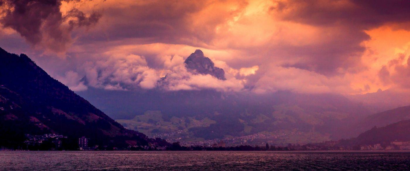 瑞士卢塞恩(Lucerne),湖边晚霞_图1-38