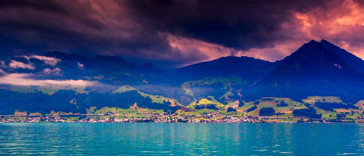 瑞士卢塞恩(Lucerne),湖边晚霞_图1-39