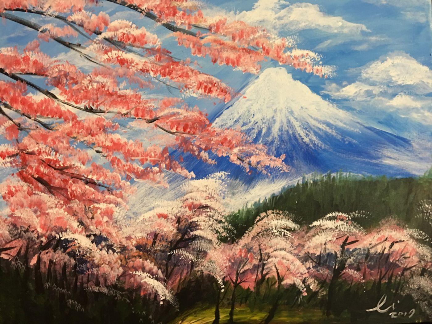 """旅美画家李兆银""""富士山""""油画_图1-2"""