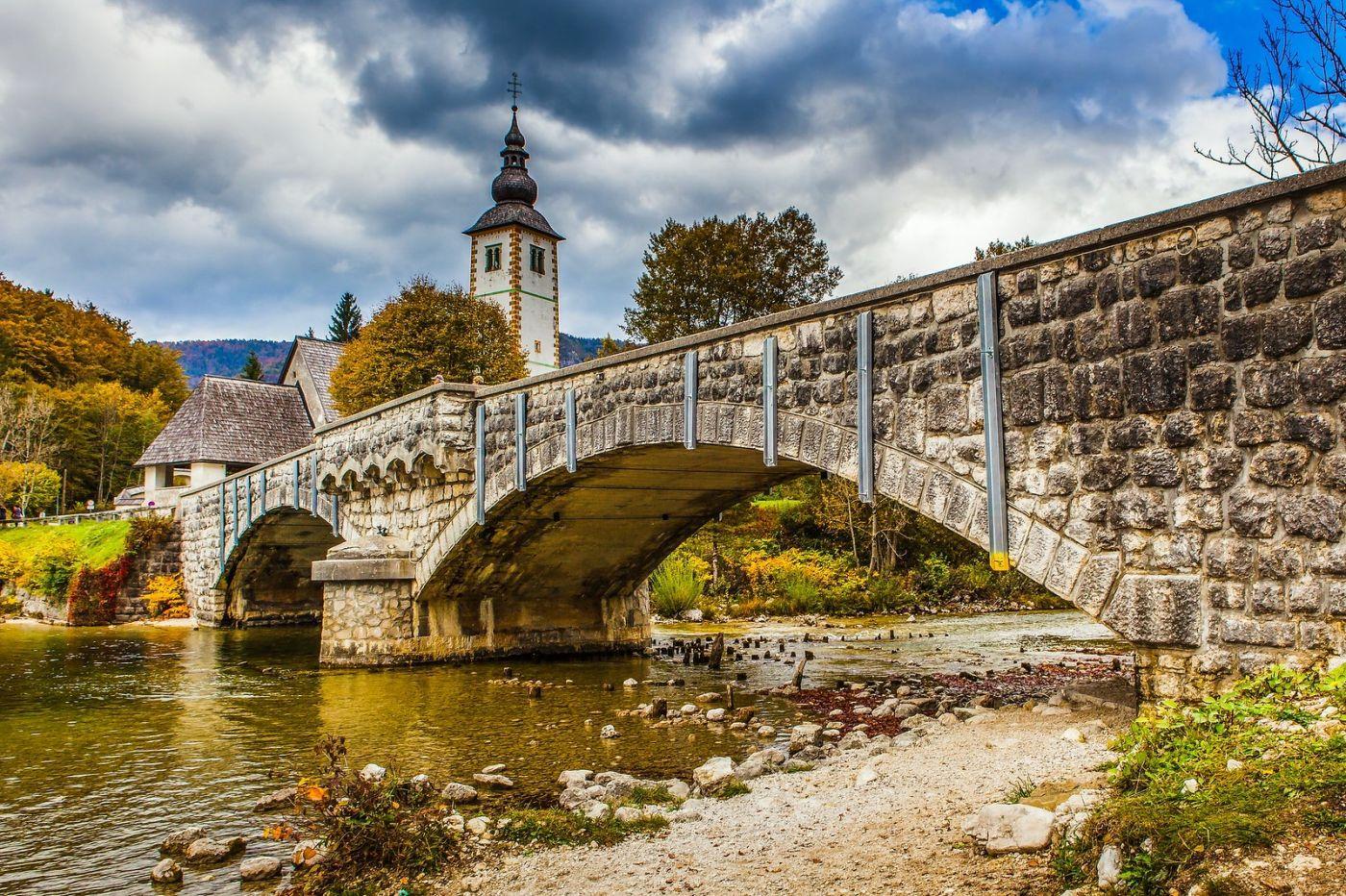 斯洛文尼亚博希尼湖(Lake Bohinj),湖边的桥和教堂_图1-13