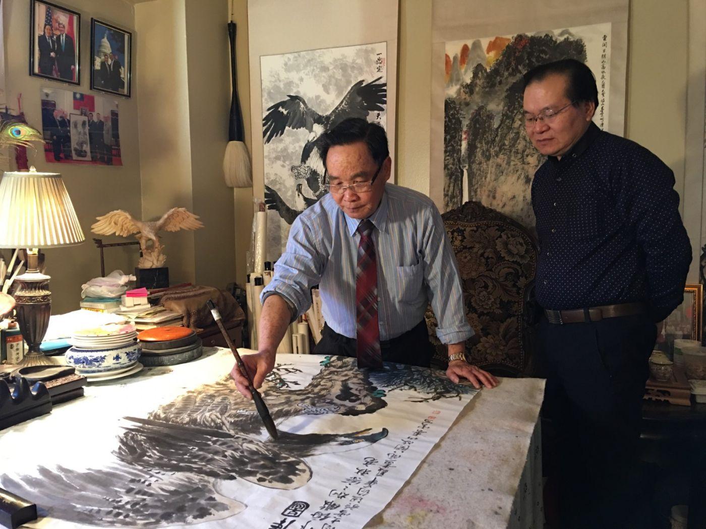 美国书协主席李兆银拜访纽约春云画室_图1-1