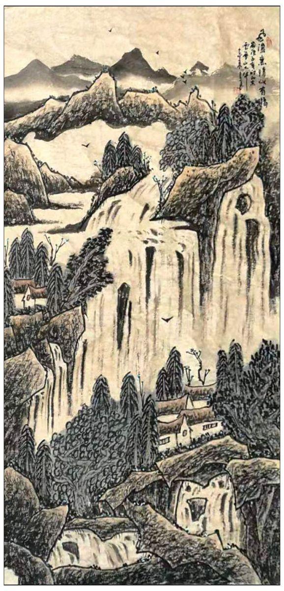 牛志高2020山水画--十二条屏-----------2020.1.16_图1-3