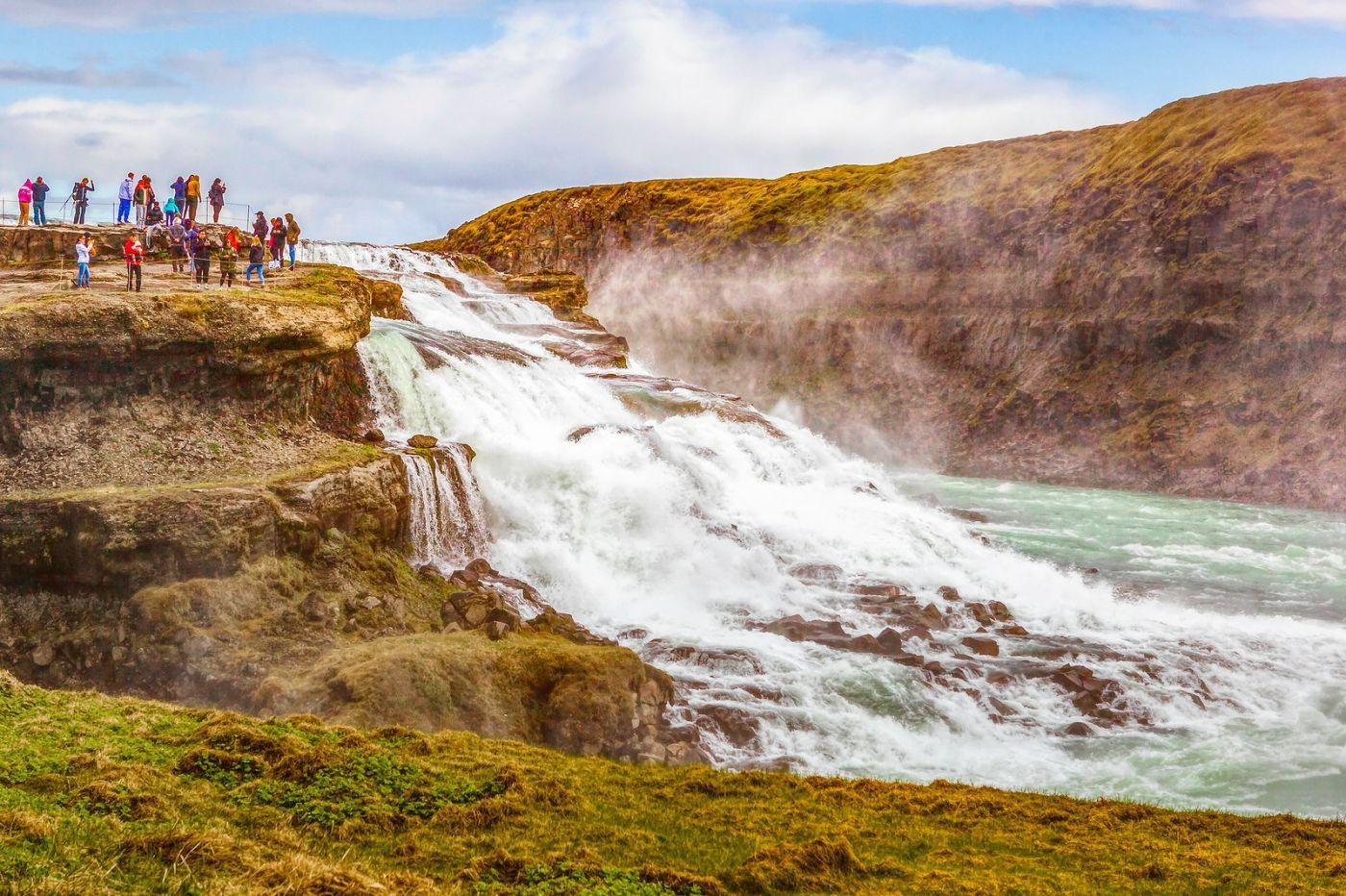 冰岛古佛斯瀑布(Gullfoss),气势磅礴_图1-4