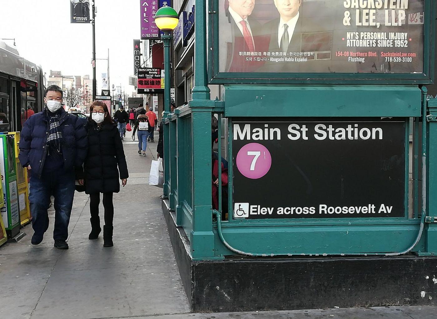 预防新型肺炎,纽约法拉盛街头戴口罩的人不断增加_图1-2