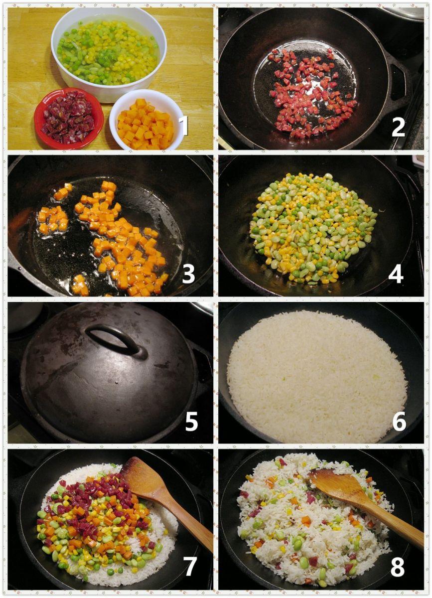 铁锅腊肠蔬菜饭_图1-2