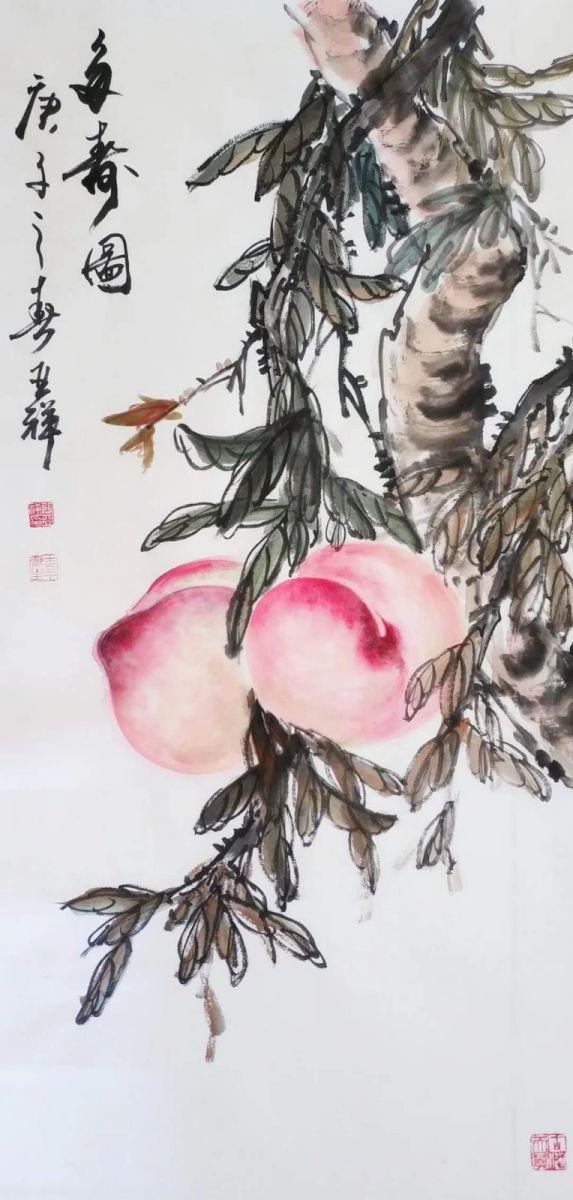 书画家张亚祥国画《多寿图》欣赏_图1-1