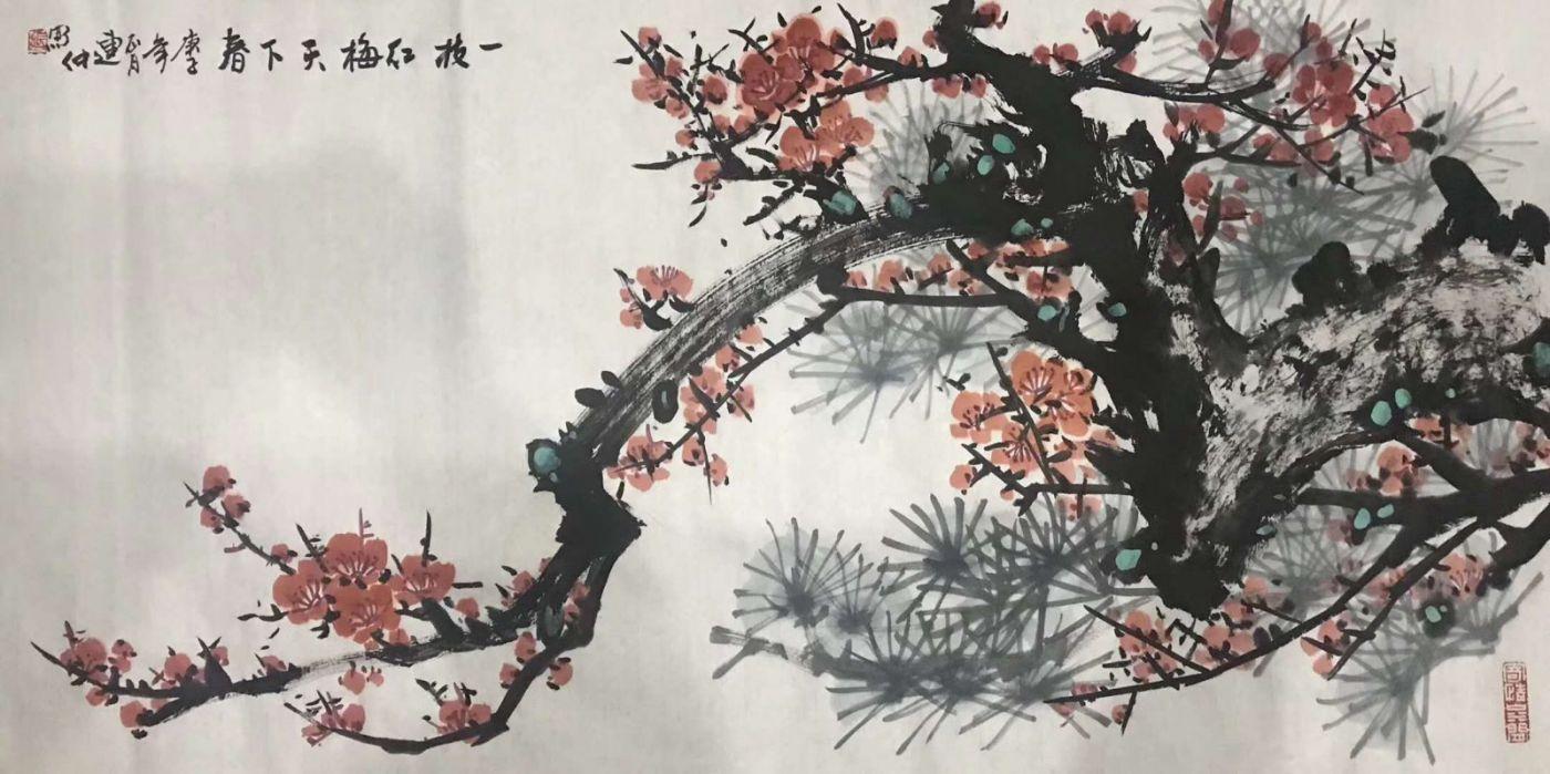 画家张连仲国画《紫气东来》_图1-2