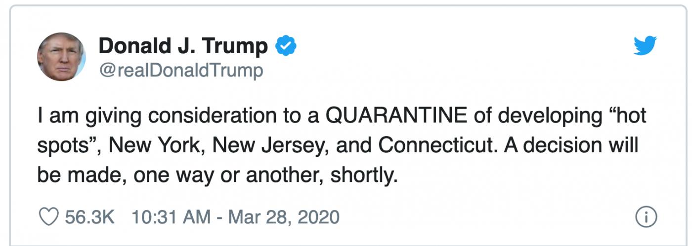 纽约州长拒绝特朗普的纽约封城建议_图1-1