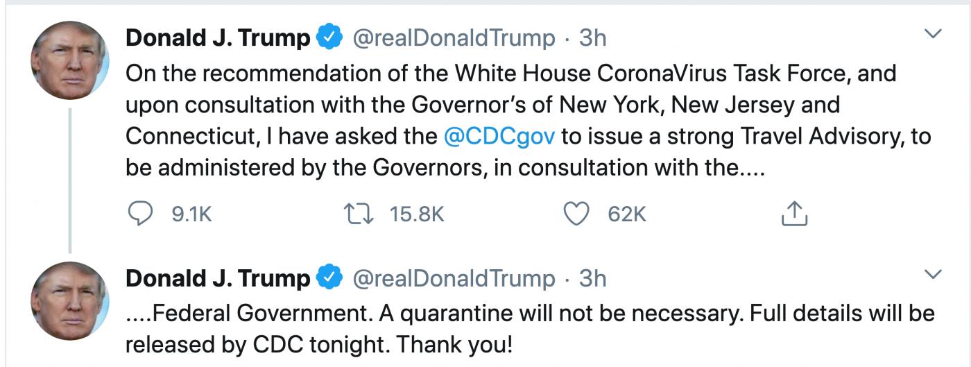 纽约州长拒绝特朗普的纽约封城建议_图1-2
