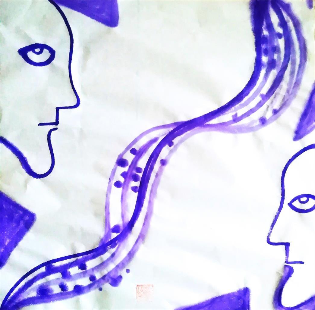 中国浪漫主义意象画派创始人张炳瑞香在疫情期间创作《距离产生美,距离等于安全》 ..._图1-1