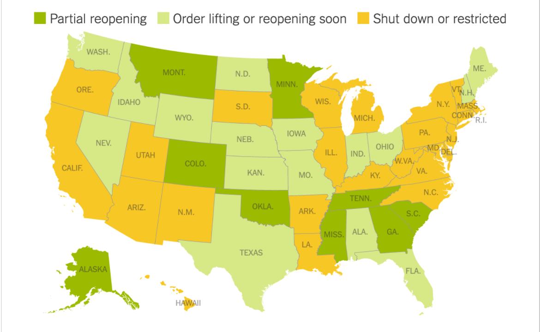 """美国约半数州已开始或将开始""""解禁""""_图1-1"""