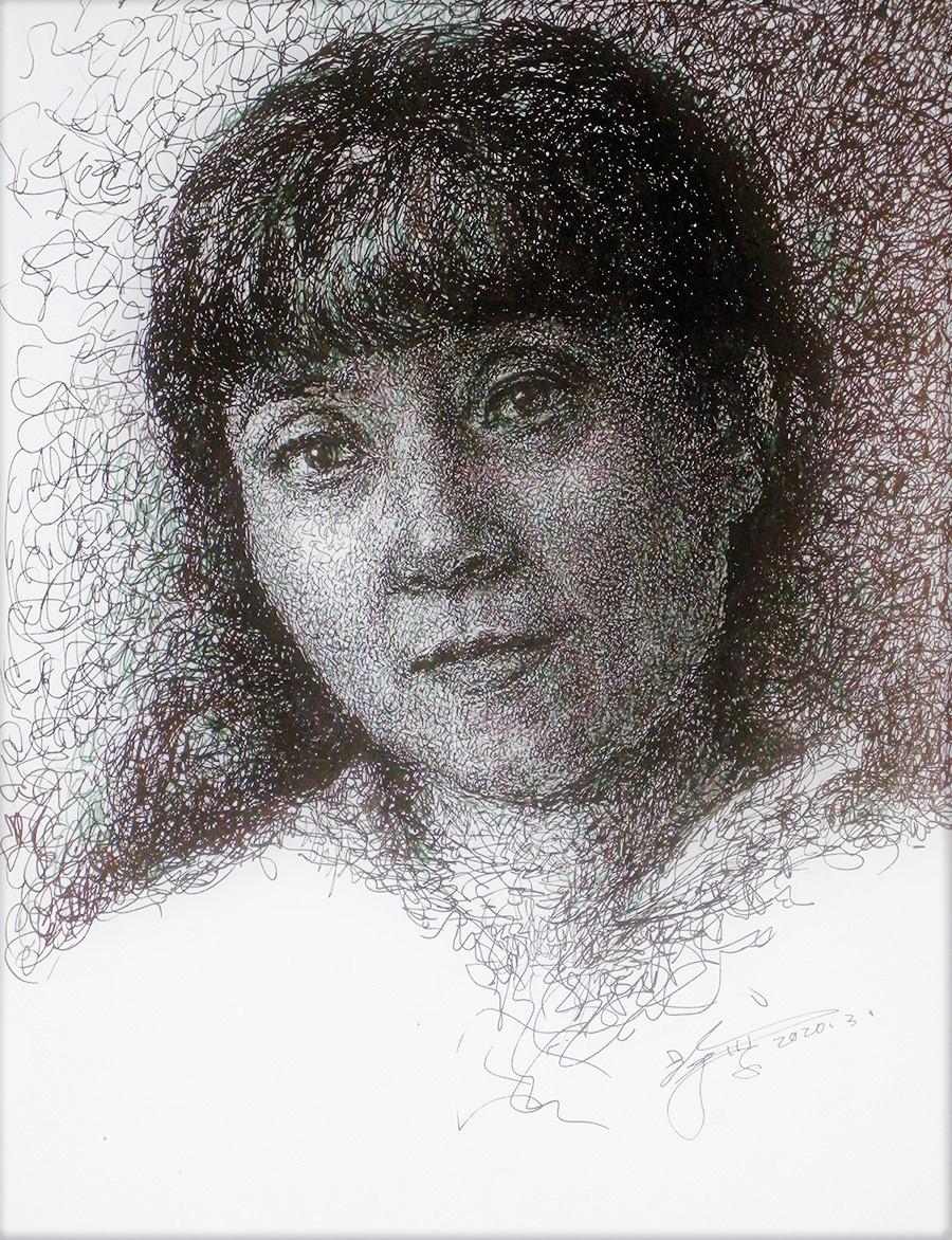 山雪钢笔画——肖像_图1-1