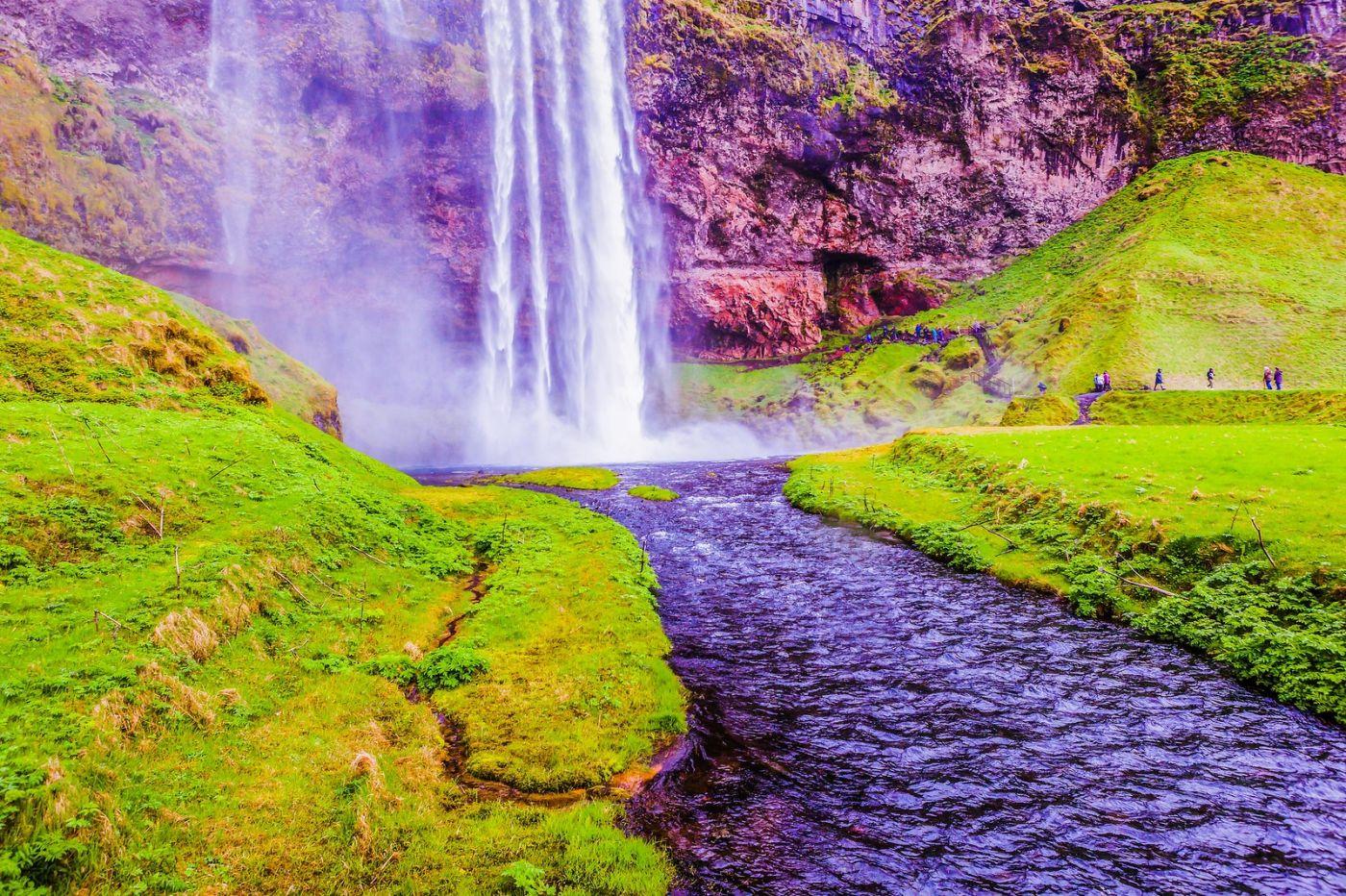 冰岛塞里雅兰瀑布(Seljalandsfoss),飞流直下_图1-15