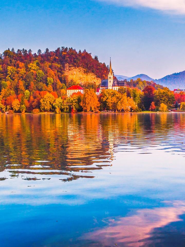 斯洛文尼亚布莱德湖(Lake Bled),清晨湖色_图1-26