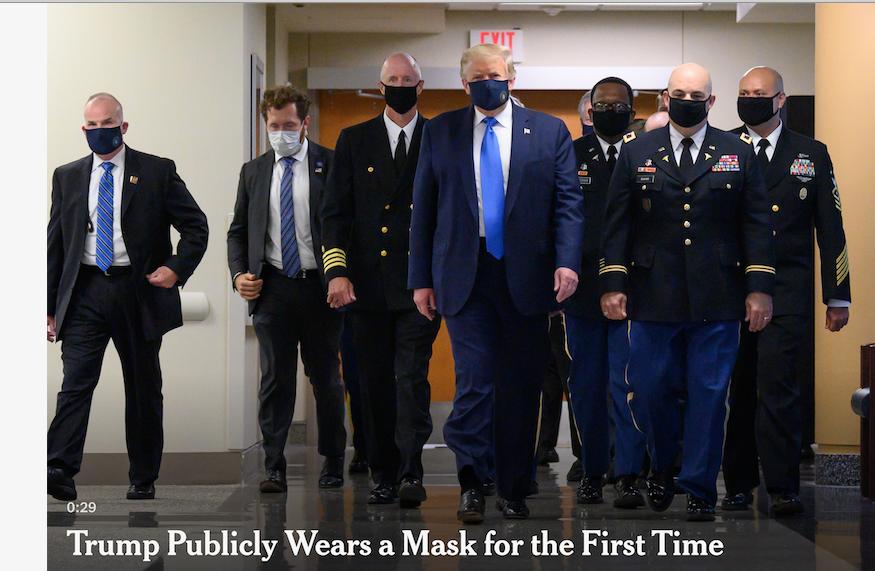 特朗普总统终于在公众场合戴上口罩_图1-1