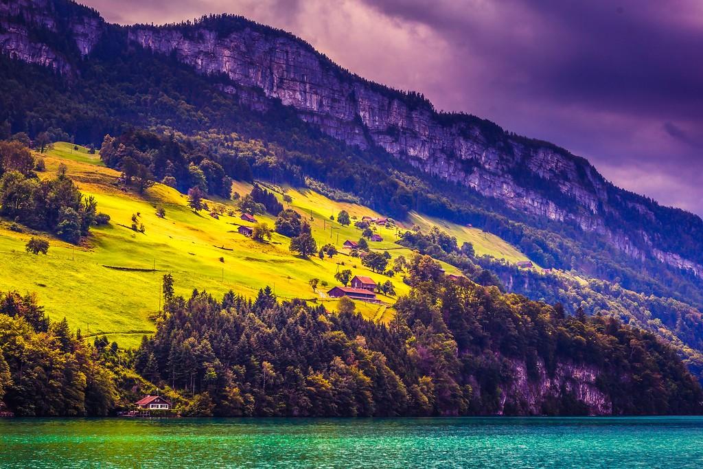 瑞士卢塞恩(Lucerne),山坡上的民居_图1-16