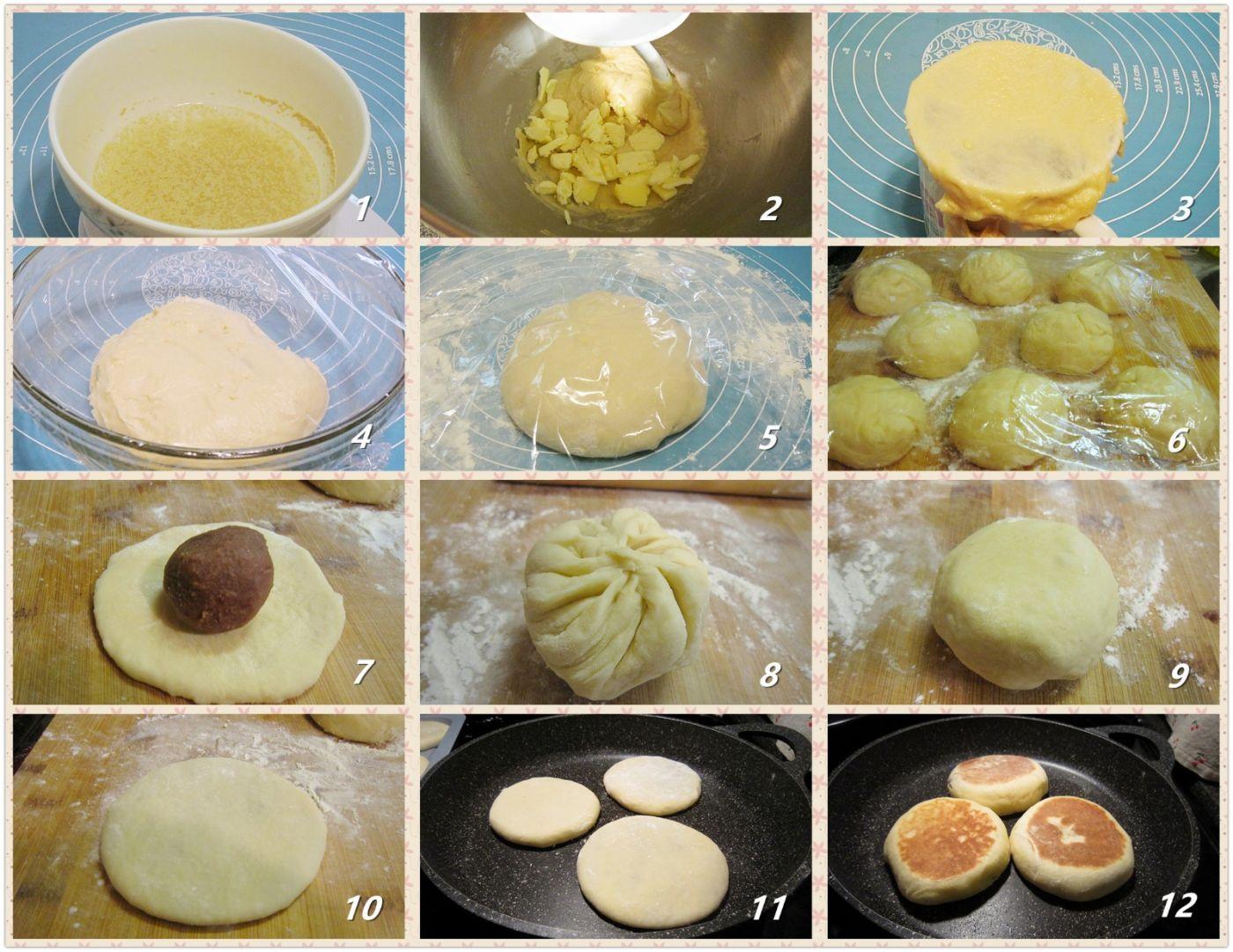 平底锅烘豆沙饼_图1-2