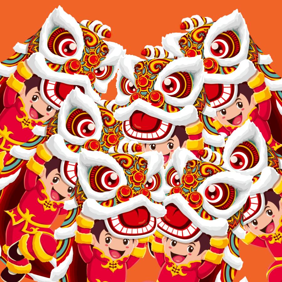 【晓鸣拼图】乐娃舞狮庆新年_图1-1