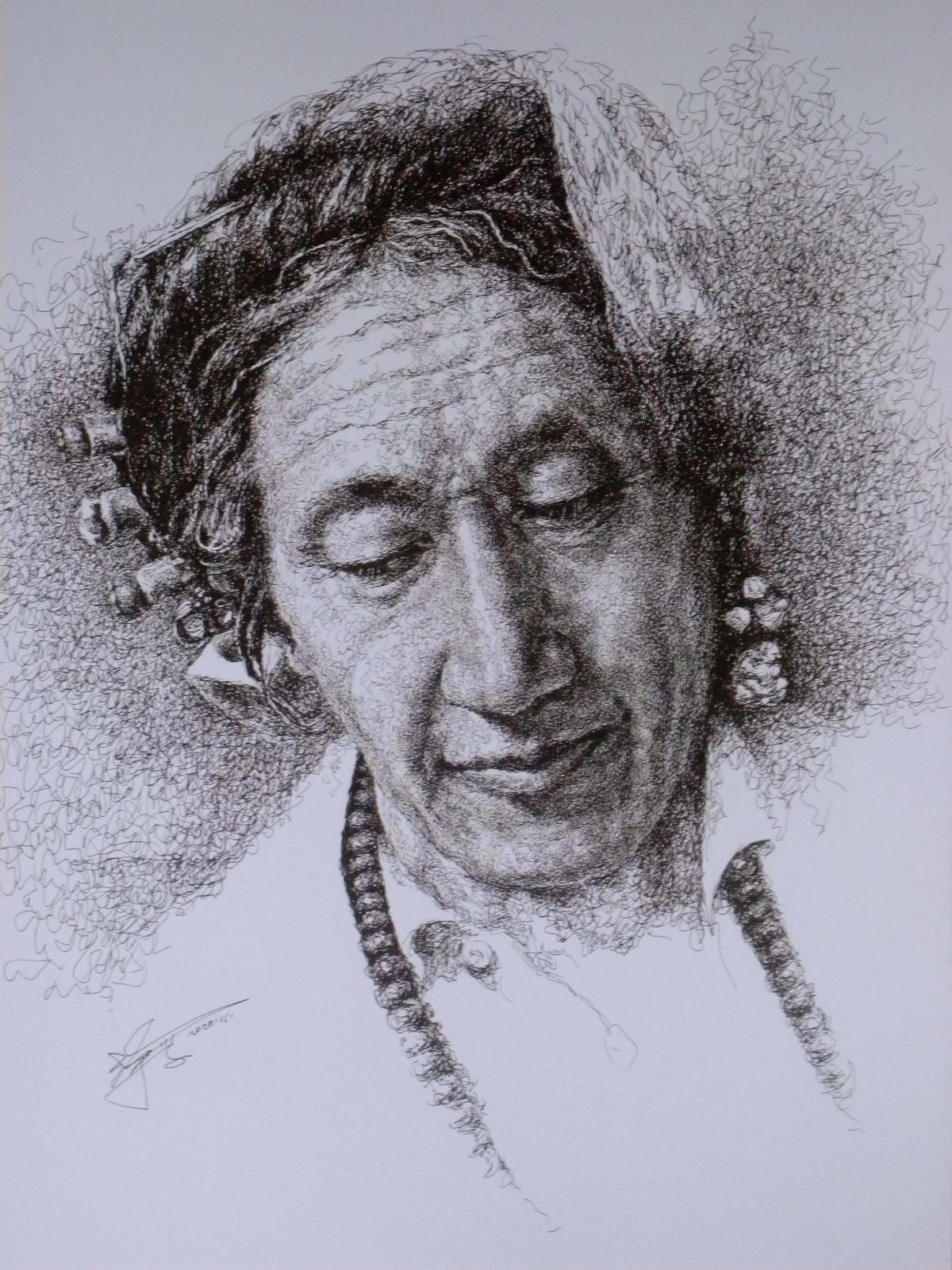 山雪钢笔画——德格印经院的印经人_图1-2