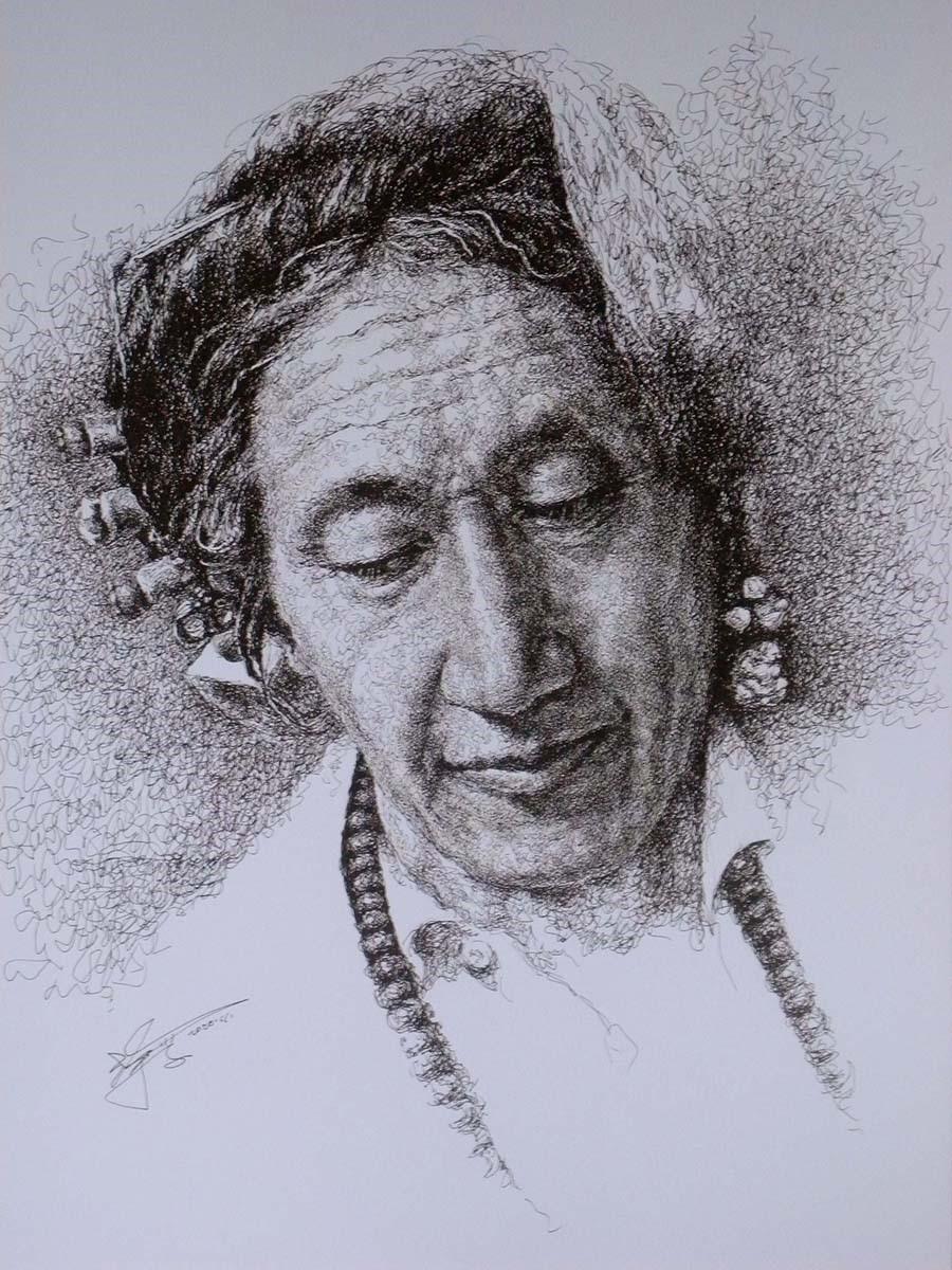 山雪钢笔画——德格印经院的印经人_图1-1