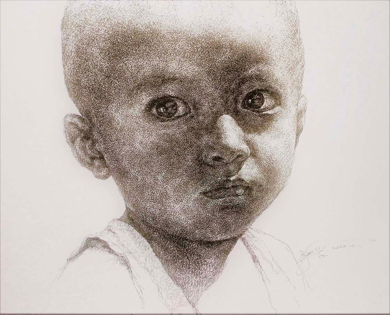 山雪钢笔画——阳光下的小毛头_图1-1