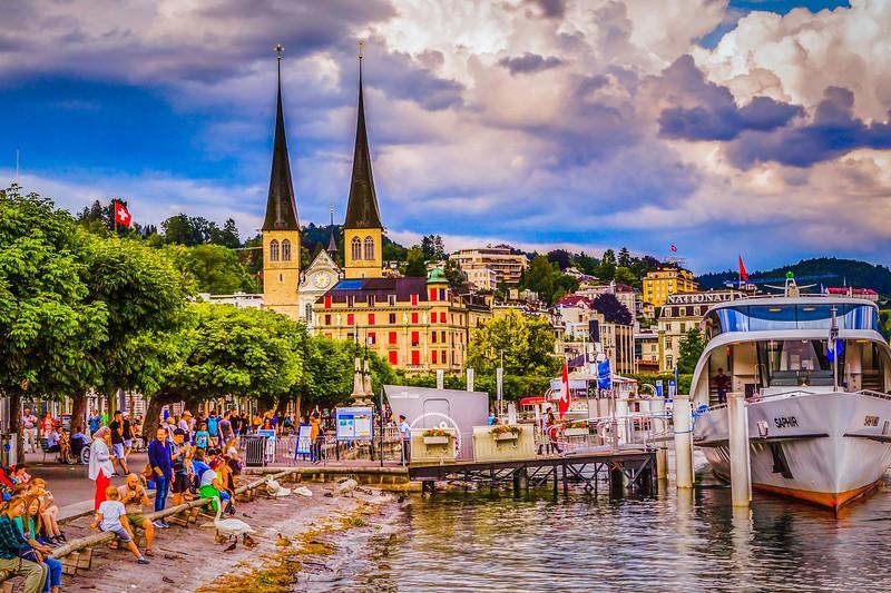 瑞士卢塞恩(Lucerne),岸边即景_图1-3