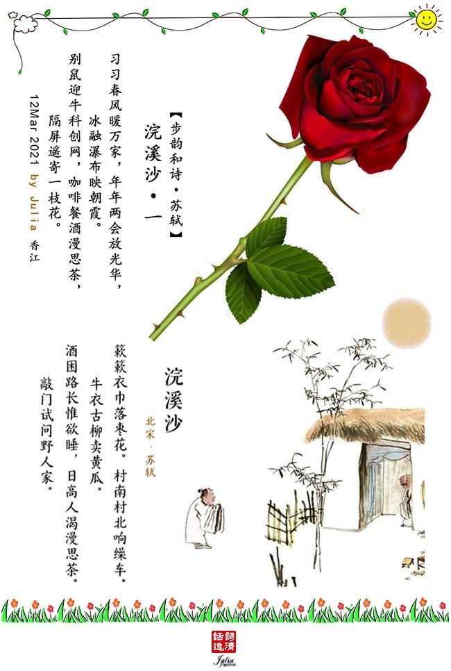 【转载·赏析·苏轼·浣溪沙·5首词】(1013) &【步韵和诗】《隔屏遥寄一枝花》Julia ..._图1-1