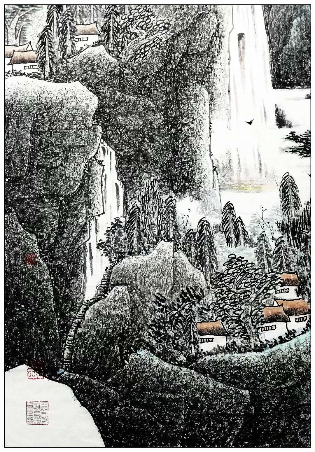 庆祝中国共产党成立100周年---牛志高山水画【220CMX150CM】2021.03.31 ..._图1-2