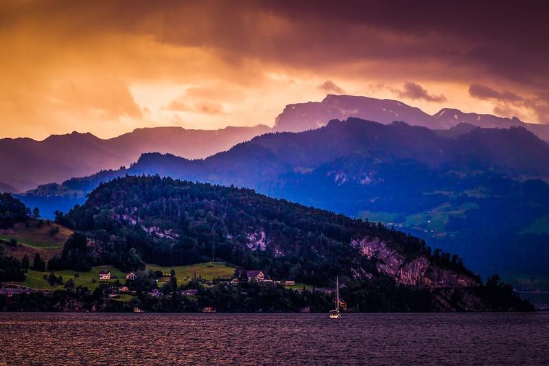 瑞士卢塞恩(Lucerne),雨后夕阳_图1-24