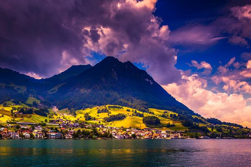 瑞士卢塞恩(Lucerne),雨后夕阳_图1-13