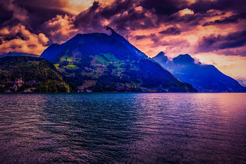 瑞士卢塞恩(Lucerne),雨后夕阳_图1-14