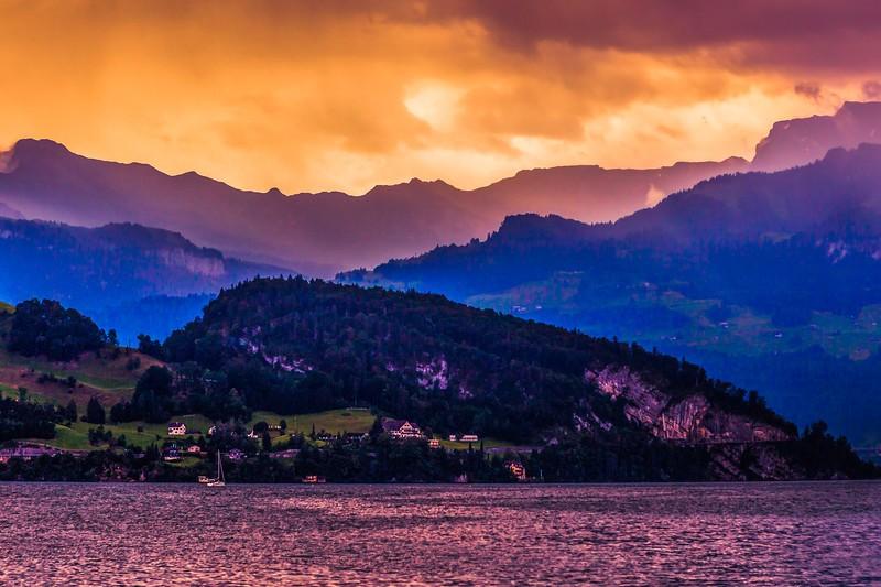 瑞士卢塞恩(Lucerne),雨后夕阳_图1-12