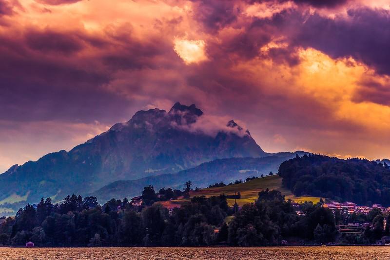 瑞士卢塞恩(Lucerne),雨后夕阳_图1-3