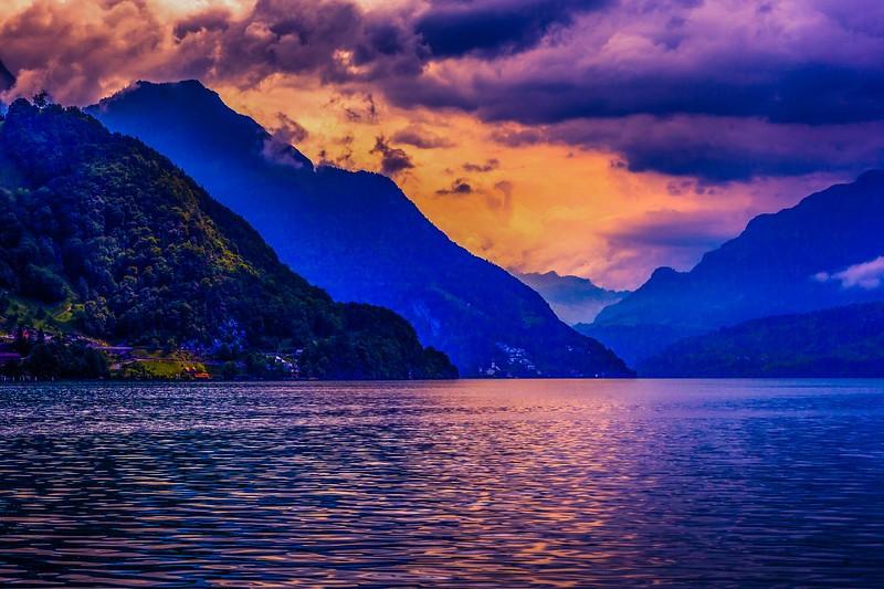 瑞士卢塞恩(Lucerne),雨后夕阳_图1-2