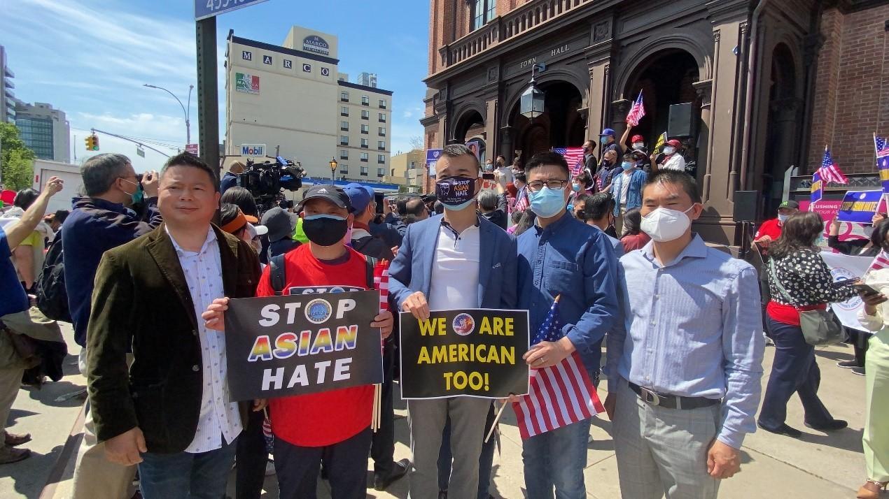 高娓娓:纽约法拉盛反对仇恨亚裔大游行现场实况_图1-7