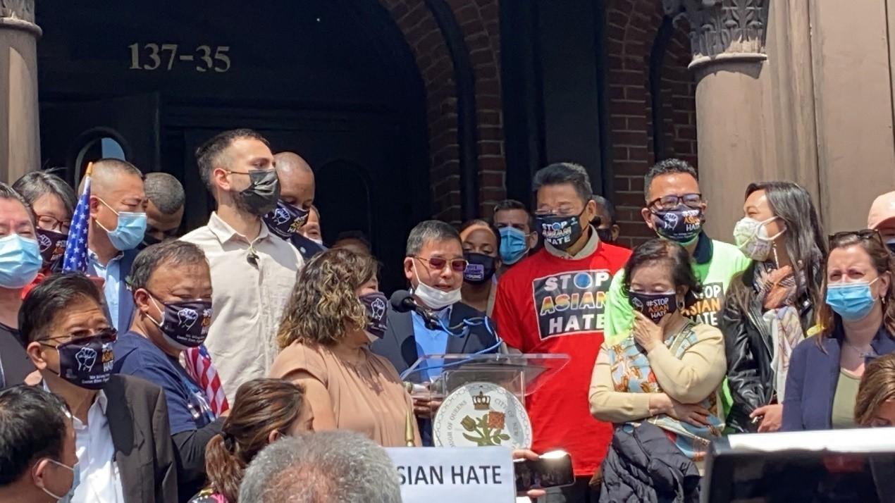 高娓娓:纽约法拉盛反对仇恨亚裔大游行现场实况_图1-12