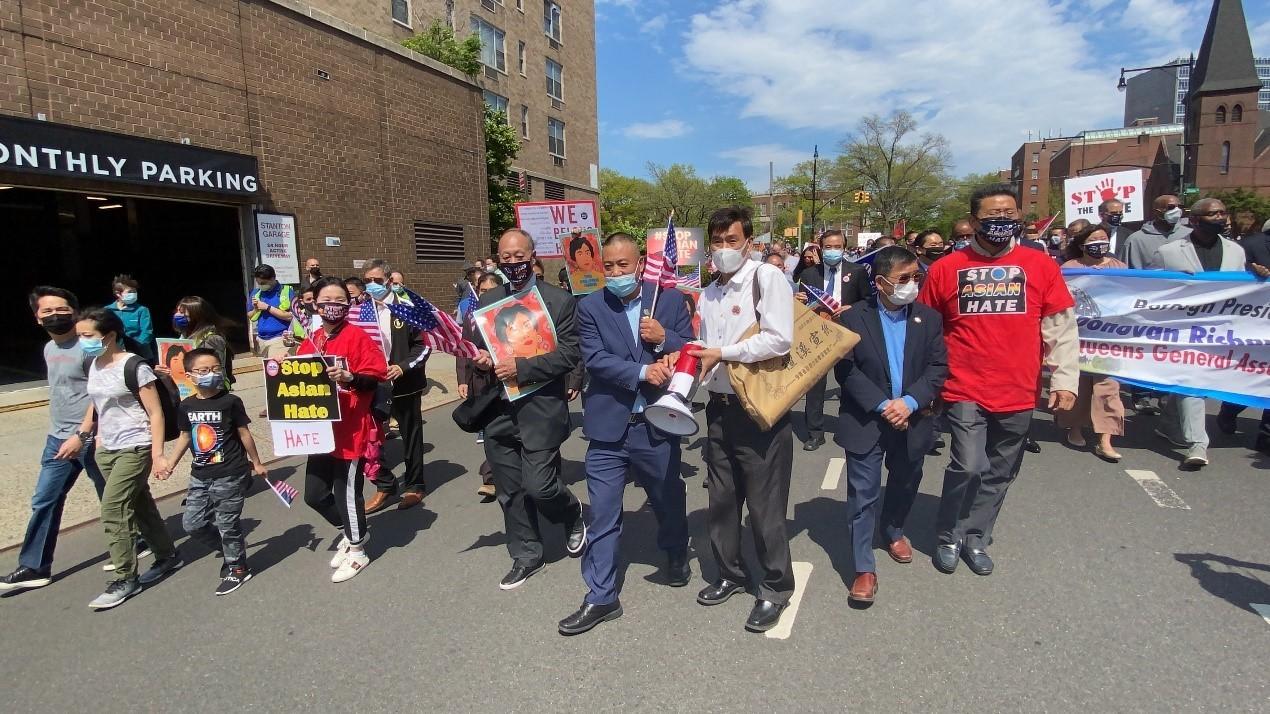 高娓娓:纽约法拉盛反对仇恨亚裔大游行现场实况_图1-23