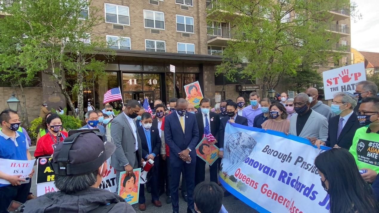 高娓娓:纽约法拉盛反对仇恨亚裔大游行现场实况_图1-22