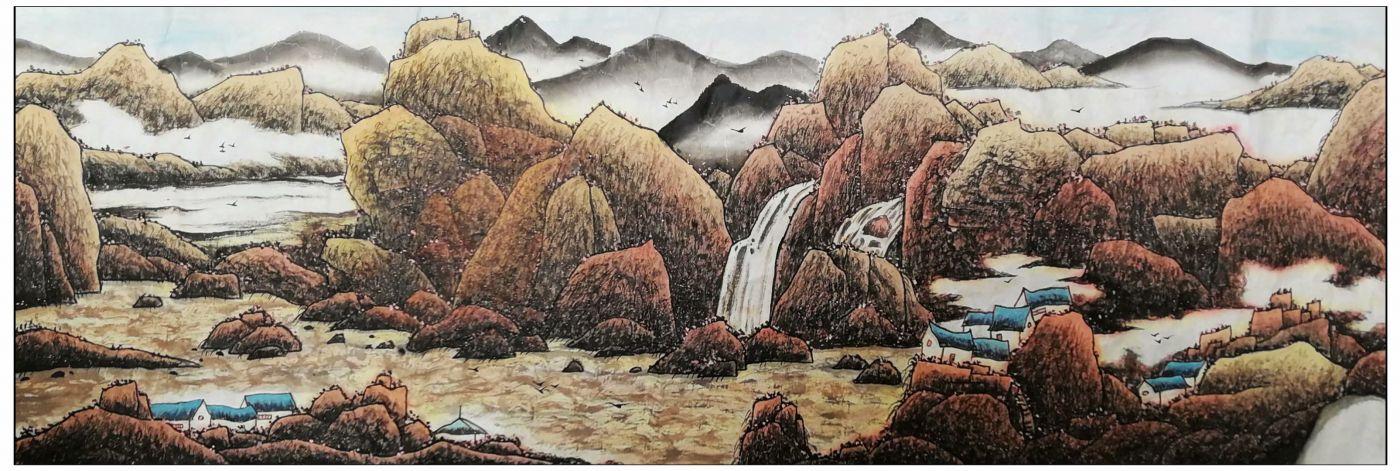 牛志高山水画新作------祝全国的小朋友六一节节日快乐_图1-2