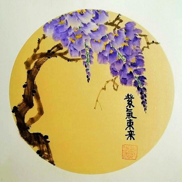 【小品自清雅,如风送香来】著名画家张炳瑞香团扇作品_图1-1