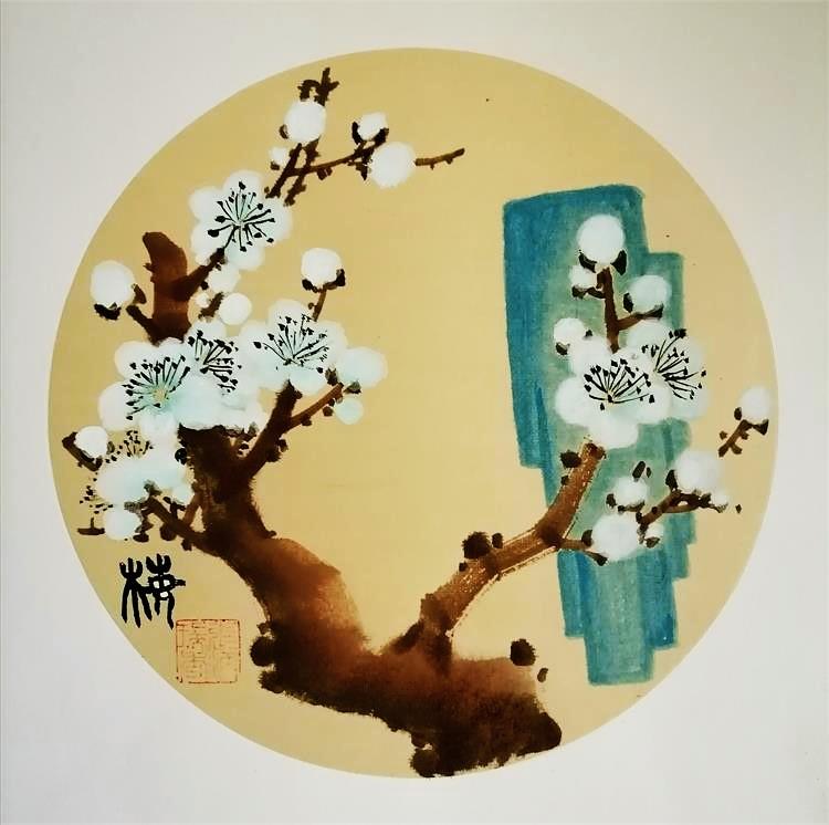 【小品自清雅,如风送香来】著名画家张炳瑞香团扇作品_图1-2