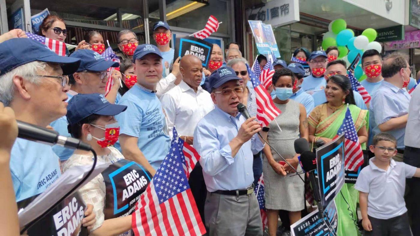 美国V视高娓娓:亚当斯法拉盛竞选办公室启用,全力争取亚裔选票 ..._图1-9