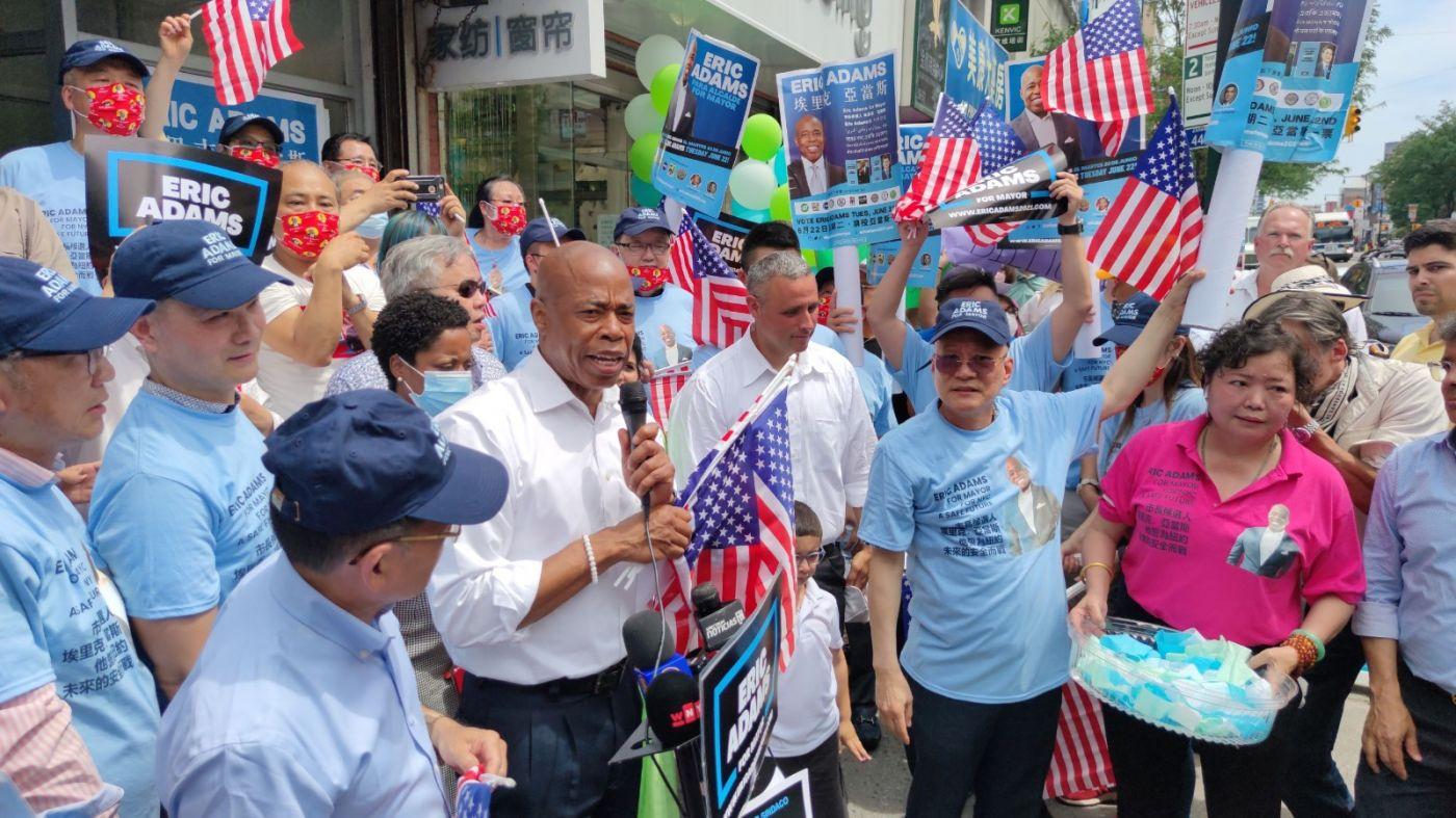 美国V视高娓娓:亚当斯法拉盛竞选办公室启用,全力争取亚裔选票 ..._图1-10