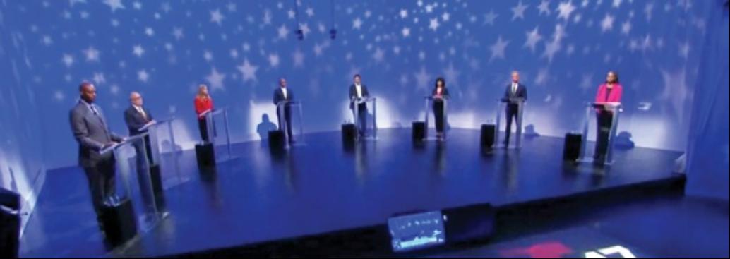 美国V视:纽约市长参选人最后一辩聚焦热点议题,场外支持热火朝天 ..._图1-1