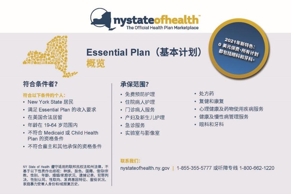 纽约州免费医疗保险Essential Plan – 你申请了吗?_图1-1