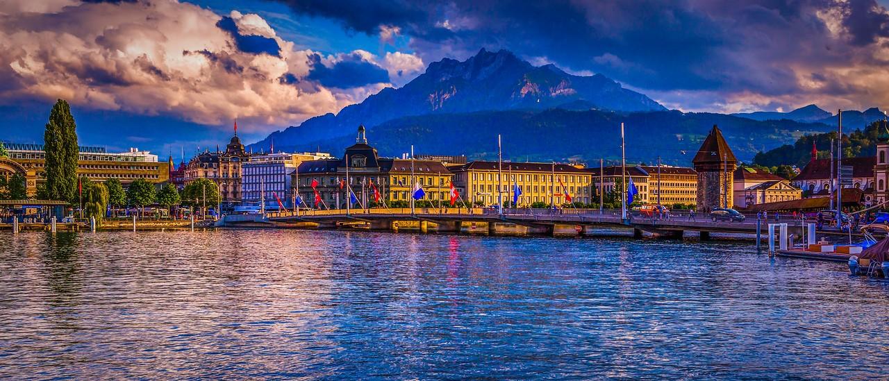 瑞士卢塞恩(Lucerne),湖边山景_图1-5