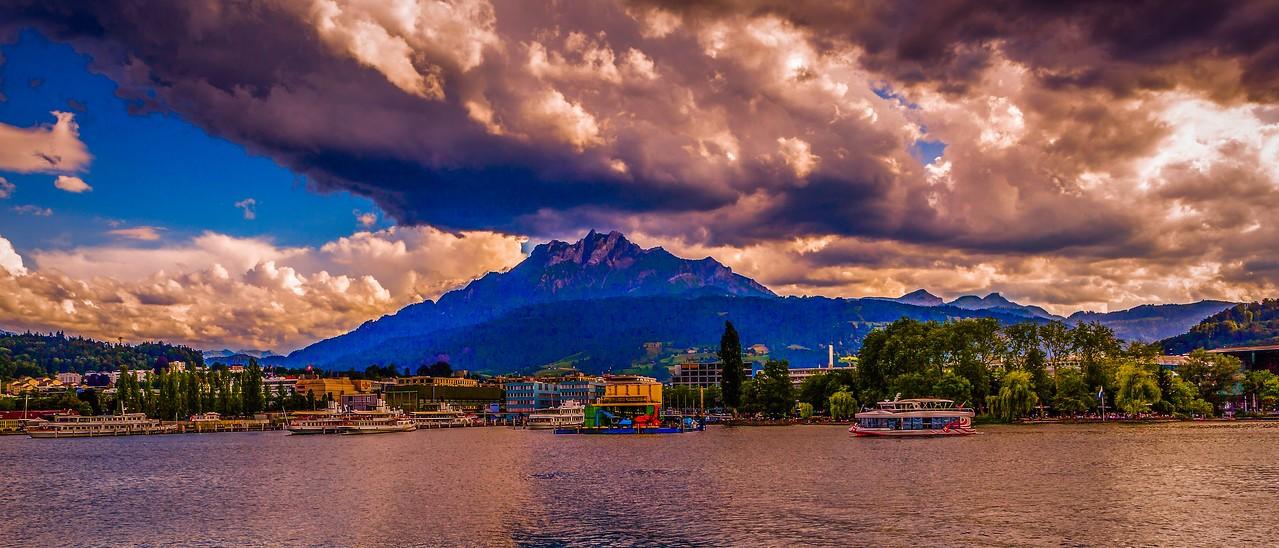 瑞士卢塞恩(Lucerne),湖边山景_图1-8