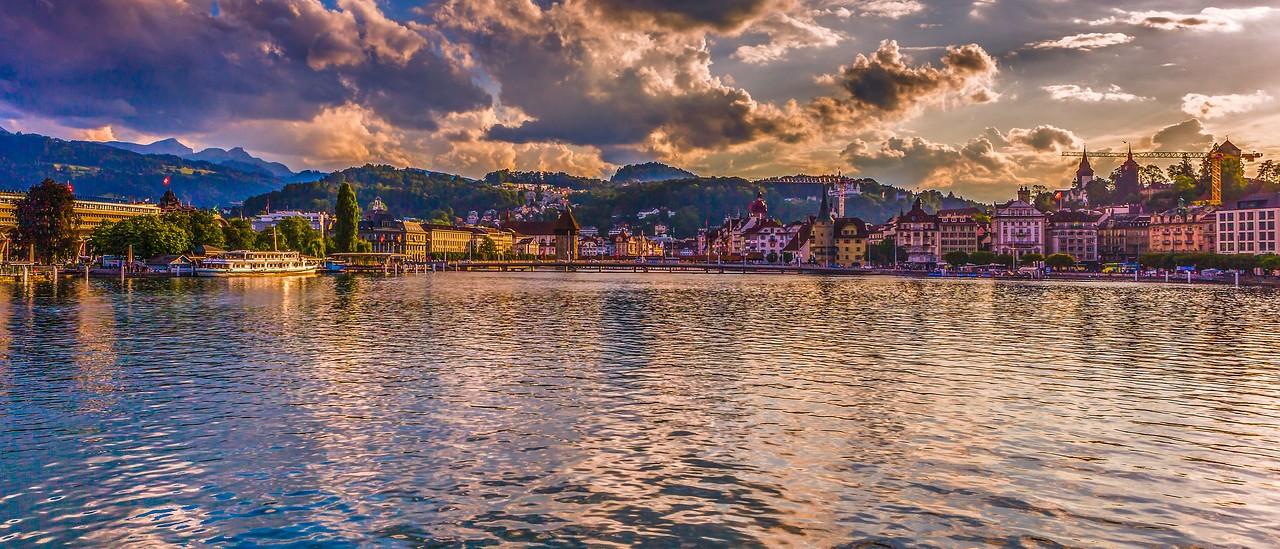 瑞士卢塞恩(Lucerne),湖边山景_图1-2